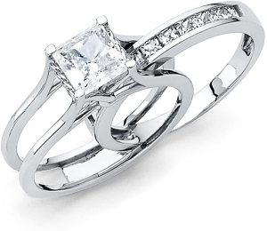 Universal Jewels Solid 14k White Gold 2 Ct. Bridal Set Princess Cut Solitaire Engagement Ring with Wedding Band