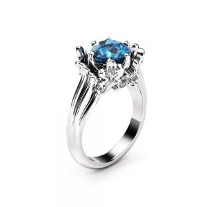 Unusual Blue Diamond Engagement Ring 14K White Gold Unique Leaves Anniversary Ring