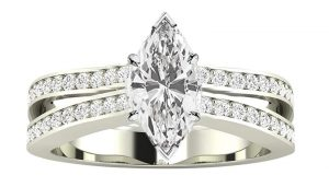2.5 Ctw 14K White Gold Contemporary Double Row Split Shank GIA Certified Marquise Cut Diamond Engagement Ring