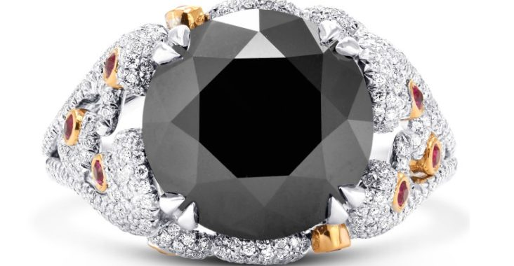 Image result for 8.05Cts Black Diamond Engagement Extraordinary Ring Set in 18K White Rose Gold Size 6