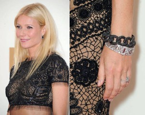 Gwyneth Paltrow was also seen sporting a black diamond bracelet in the 2011 Emmy Awards.