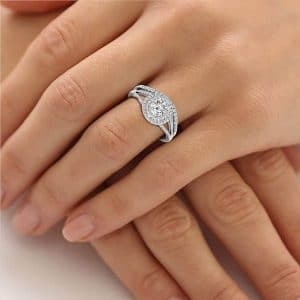 Lab Grown Diamond Ring Round Cut Lab Created Diamond Halo Wedding Ring with hands folded