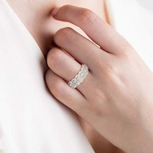 Female hand wearing Lab-Created Wedding Diamond Ring